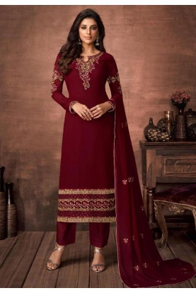 Designer Salwar Suit Maroon Colour.