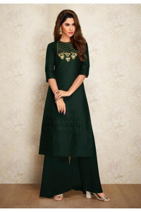 Green Colour Party Wear Kurti.