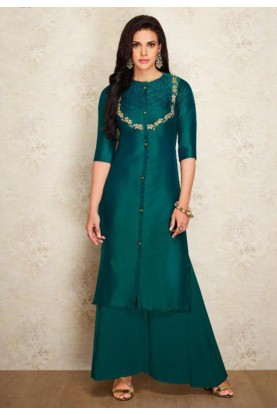 Green Colour Silk Indian Designer Kurti.