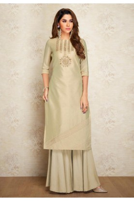 Beige Colour Silk Party Wear Kurti.