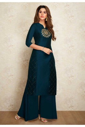 Silk Designer Kurti Blue Colour.