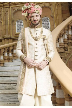 Golden,Cream Color Designer Sherwani.