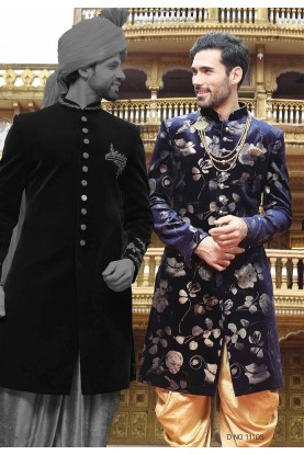 Blue Color Indowestern Sherwani.