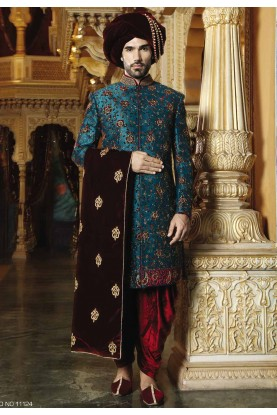 Green Color Designer Sherwani.