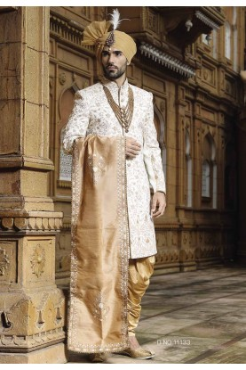 Fabulous Off White Color Designer Sherwani.