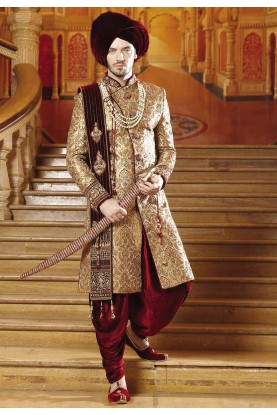 Golden,Maroon Color Indian Sherwani.