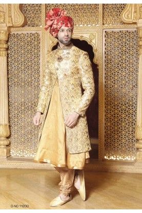 Golden,Beige Color Wedding Sherwani.