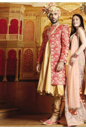 Red Color Designer Sherwani.
