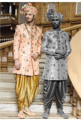 Peach Color Sherwani.