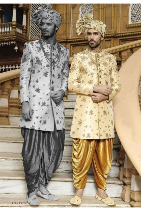 Golden Color Indowestern Sherwani.