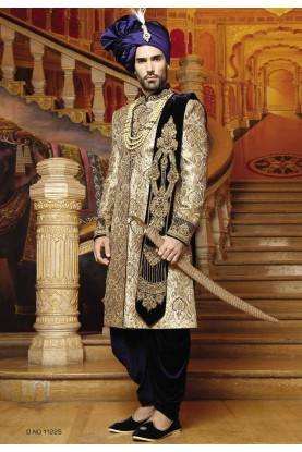 Blue,Golden Color Indian Designer Sherwani.