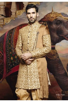 Golden Color Silk Sherwani, Indo western dresses for men