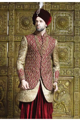 Maroon,Golden Color Indowestern Sherwani, Indo western for men
