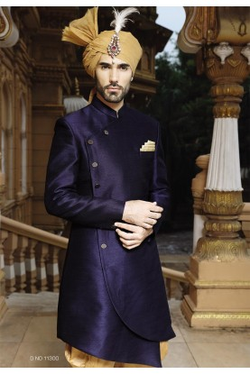 Blue Color Silk Sherwani, Indo western suits for mens