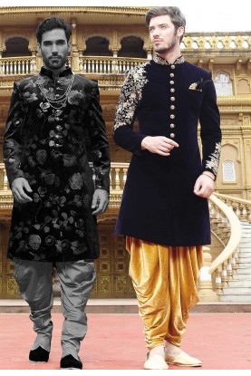 Blue Color Indo Sherwani.