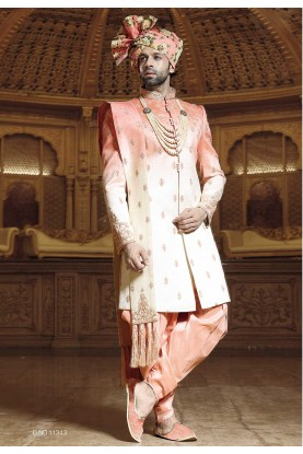 Cream,Peach Color Designer Sherwani.