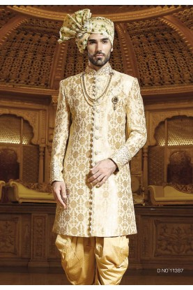 Golden Color Indian Designer Sherwani.