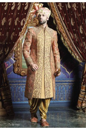 Pink,Golden Color Wedding Sherwani.