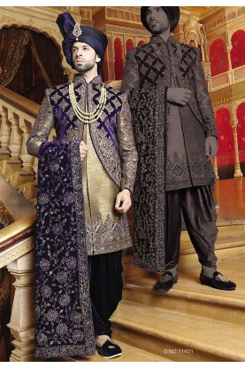 Purple,Golden Color Sherwani.