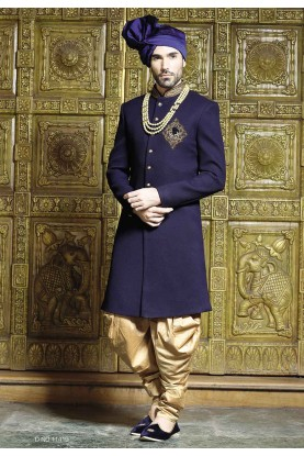 Blue Color Sherwani For Men's