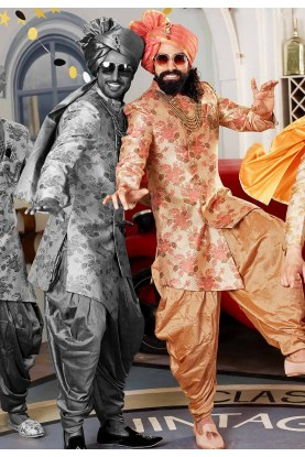 Golden,Peach Colour Men's Indowestern.