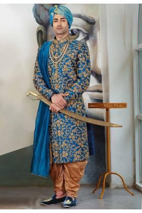 Buy designer sherwani in Blue Colour for men