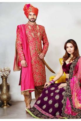 Buy designer sherwani in Red Colour