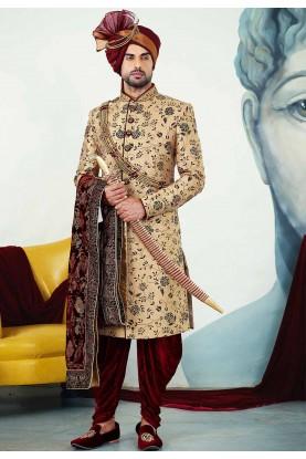 Buy designer sherwani in golden colour for groom