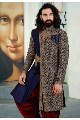 Buy designer sherwani in blue colour for Royal Wedding