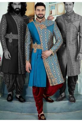 Buy designer sherwani in turquoise colour for men