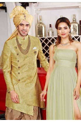 Golden Colour Party Wear Indowestern.