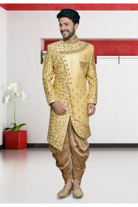 Golden Colour Men's Designer Indowestern.