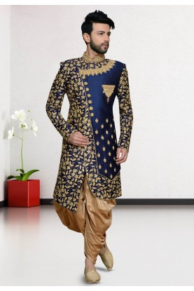 Blue Colour Silk Party Wear Indowestern.