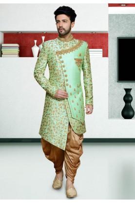 Exclusive Designer Indo Sherwani Green Colour.