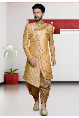Peach Colour Silk Designer Indo Sherwani.