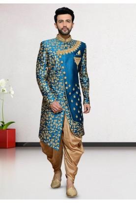 Turquoise Colour Men's Indo Sherwani.