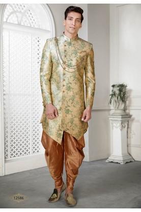Golden Colour Men's Party Wear Indowestern.