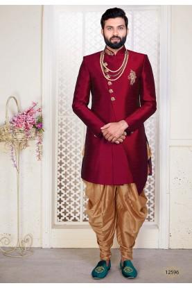 Exclusive Designer Men's Indowestern Maroon Colour.