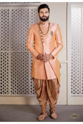 Peach Colour Men's Designer Indowestern.