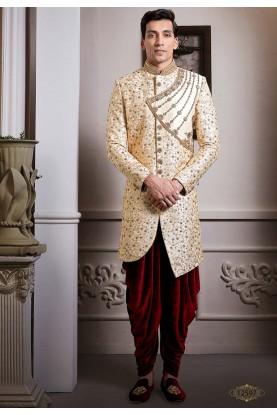 Cream,Golden Colour Designer Indo Sherwani.