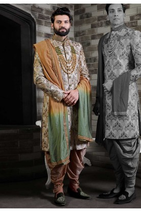 Cream,Golden Colour Designer Sherwani For Groom.