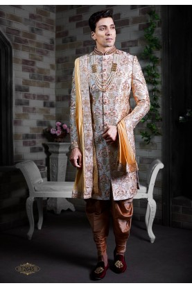 Cream Colour Silk Men's Sherwani.