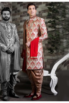 Golden Colour Silk Men's Sherwani.