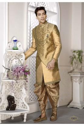 Golden Colour Silk Engagement Dresses.