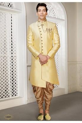 Golden Colour Brocade Fabric Men's Indowestern.
