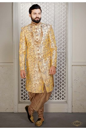 Yellow Colour Silk Designer Sherwani.