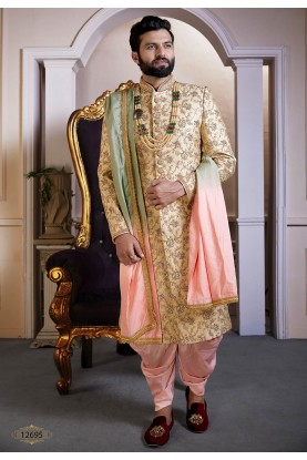 Golden Colour Silk Indian Men's Sherwani.