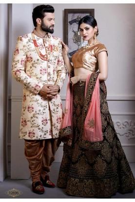 Cream Colour Silk Designer Indo Sherwani.