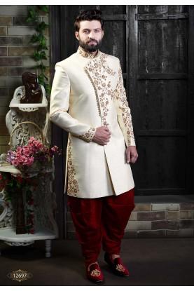 Fabulous Designer Men's Indowestern Cream Colour.