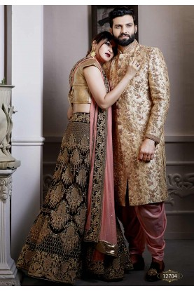 Golden Colour Jacquard Fabric Indian Wedding Attire For Groom.
